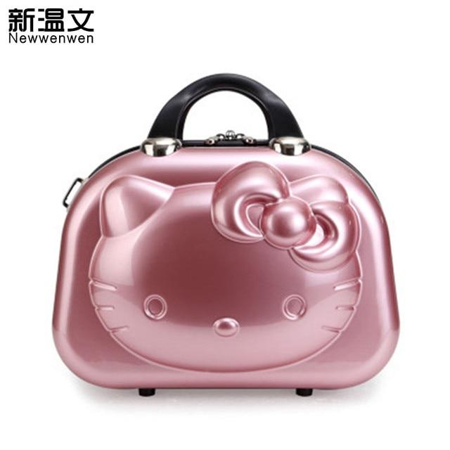 14e884b97507 Дюймов 13 дюймов милый багаж для путешествий hello kitty женские сумки для  макияжа, девушки мультфильм