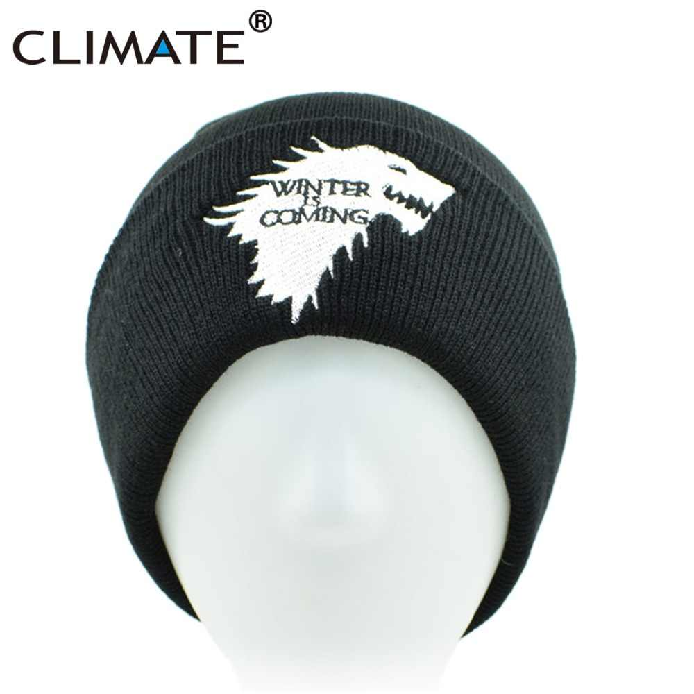 3a5c81594b1 ... CLIMATE Men Beanie Hat Men Winter Hat is Coming Game Of Thrones Hat  Warm House Of ...