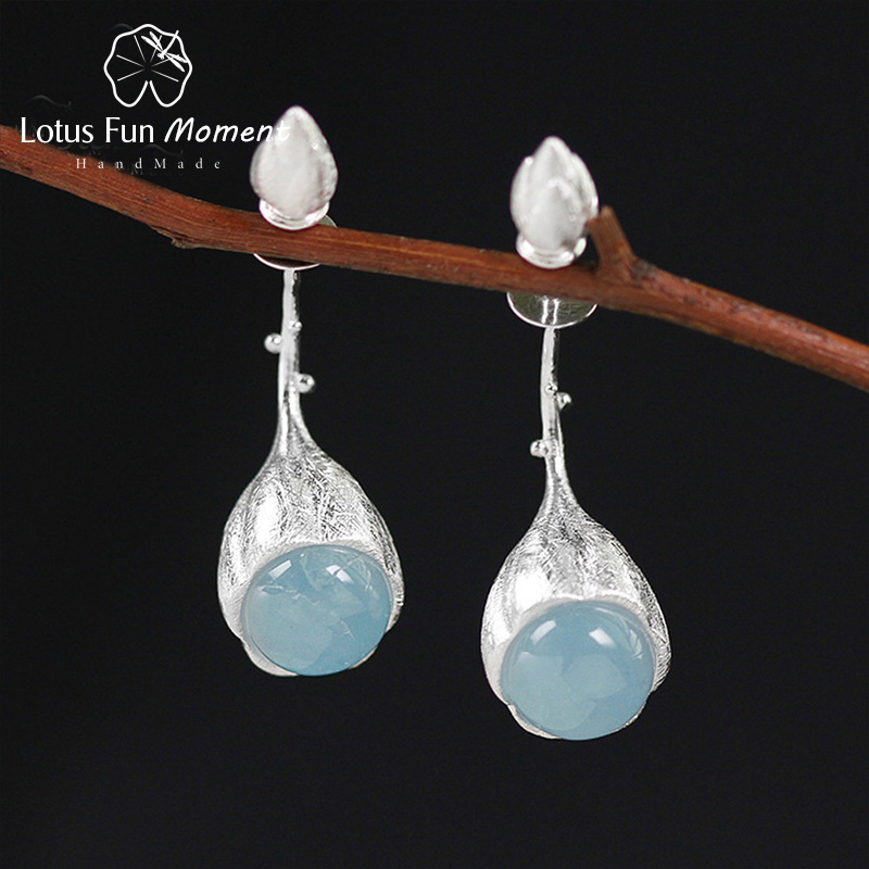 все цены на Lotus Fun Moment Real 925 Sterling Silver Natural Stone Designer Fashion Jewelry Elegant Lotus Buds Dangle Earrings for Women