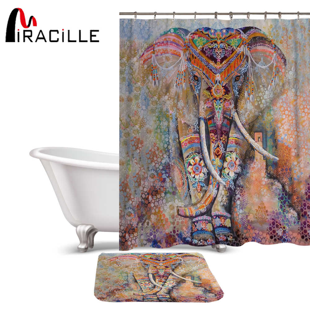 Miracille India Colorful Gajah Dicetak Tahan Air Polyester Shower Tirai Karang Beludru Anti-Slip Bath Mat Set dengan 12 Kait