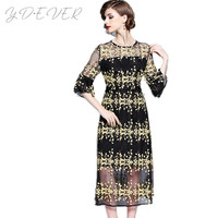New High Quality Mesh Embroidery Elegant Long Dress Summer Women Sexy through Flare Sleeve Tunic Party Dresses Vestido De Festa