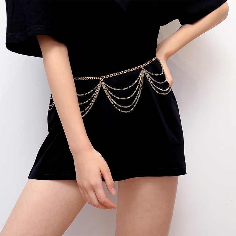 BLA Luxo Mulheres Cadeia Cintos Cós Cintos de Cintura de Todos Os Jogo de Prata de Ouro Multicamadas Cadeia de Borla Longo Para Festa Vestido de Jóias 3