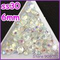 1000 unids 6mm SS30 AB Jelly Facetas FlatBack Resina Piedra J3 Jelly Crystal White AB Nail Art Gemas de Los Rhinestones decoración