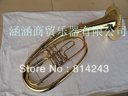 3 Flat Key Bb Euphonium Horn Suface Gold lacquer Brass  Horn Professional Musical Instruments With Black Case