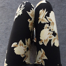Multiple stock styles printed rose lady trousers leggings slim elastic flower