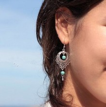 2017 New Fashion Personality National Wind Retro Droplets Earrings Jewelry Wholesale Turquoise Long Earrings Wholesale Women national wind alloy jewelry round stone earrings