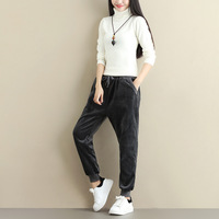 Plus Size Women Winter Velvet Pants Gold Fleeces Thickening Elastic Drawstring Waist Harem Pants Female Warm Trousers