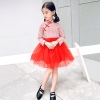 2017 Autumn Girls Clothes Chinese Cheongsam Cotton Children S A Line Elegant Dresses Kids Baby Traditional
