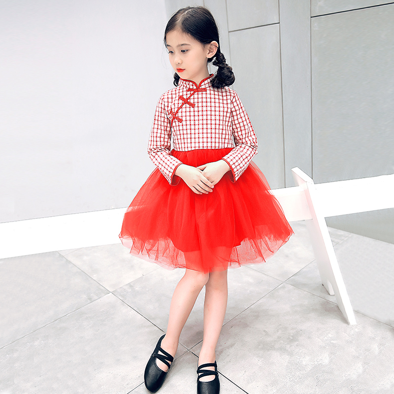 2017 autumn girls clothes chinese cheongsam cotton children's a line elegant dresses kids baby traditional chinese dress