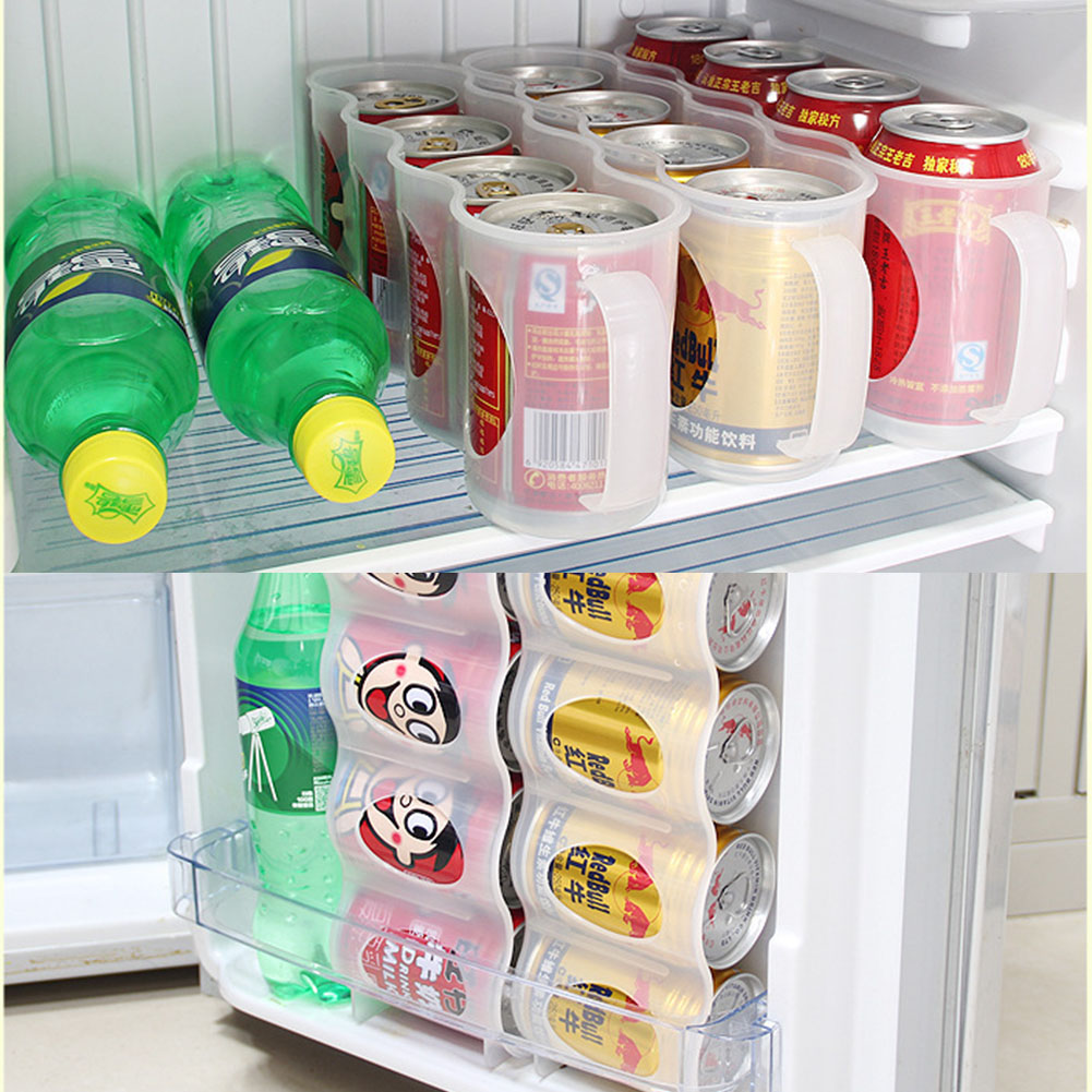 Transparent PP Bear Storage Box Refrigerator Storage Box Beverage Drink Can Space-saving Cans Finishing 4 Lattice Organizer
