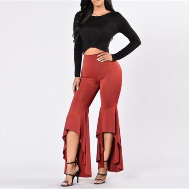 2017 Autumn palazzo pants trousers for women wide leg pants irregular Vintage large size Bodycon Evening Party sexy Slim pants