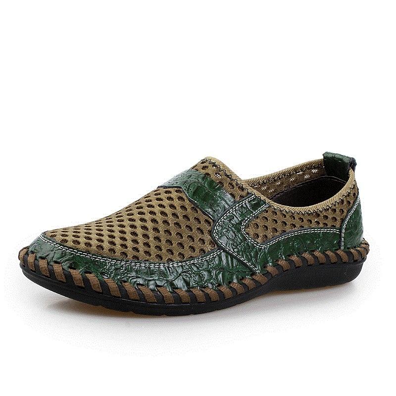2018 Summer Breathable Mesh Shoes Men Casual Sandals Genuine Leather Slip On Brand Fashion Summer Shoes Men Plus size 39-47