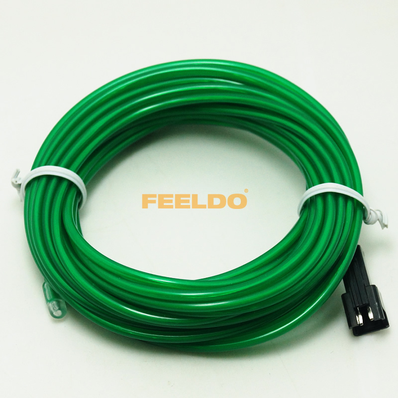 5m green flexible el neon glow lighting rope strip charger for car interior cigarette lighter. Black Bedroom Furniture Sets. Home Design Ideas