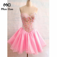 Gorgeous 2018 Ball Gown Homecoming Dress Sweetheart Beading Organza Short Mini Homecoming Graduation Dresses Cocktail Dresses