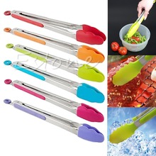 Silicone Kitchen Cooking Salad Serving BBQ Tongs Stainless Steel Handle Utensil random color-F1FB