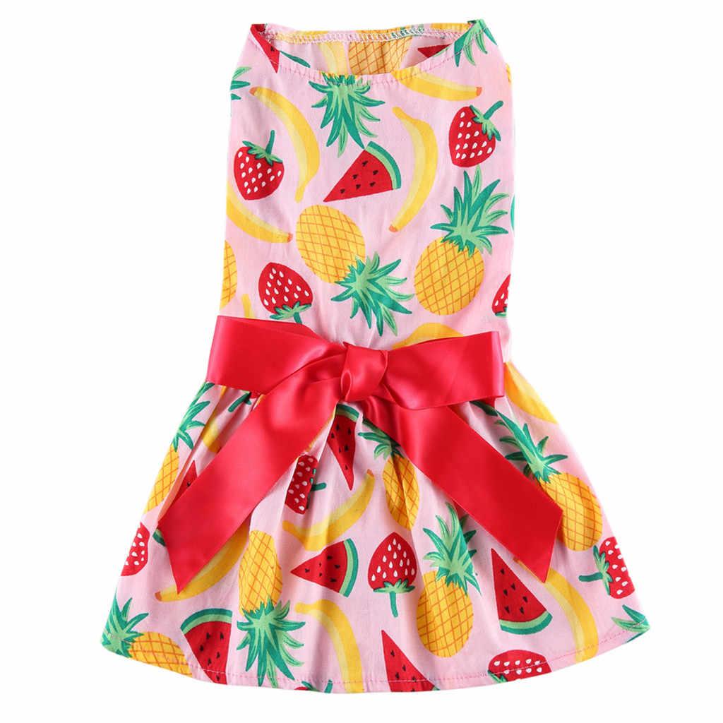 Платье для собак трансера из хлопка, весенне-летние Красивые костюмы с фруктовым принтом, розовая юбка для собак Vestido Perro 19Apr. 3 P35