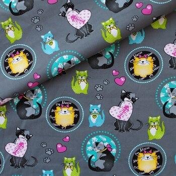 Tela tejida de algodón-gato y corazón en gris oscuro