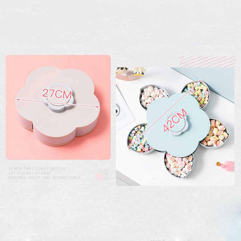 Flor de Ameixa de Rotação Caixa de Doces Caixa de Armazenamento de Cozinha de Alimentos Recipiente De Plástico Organizador Partition Produtos para o Lar