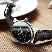 Business Men Automatic Self Wind Mechanical Silver Black Leather Strap Casual Sports Switzerland Watch Sapphire Crystal NEW 2019
