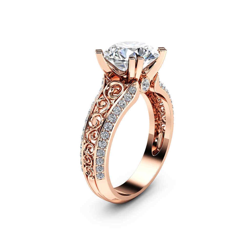 FUNIQUE Rose ทองเงินคลาสสิกหญิงแหวนแหวนหมั้นงานแต่งงาน Cubic Zircon แหวนแฟชั่น Bijoux แหวนเครื่องประดับ