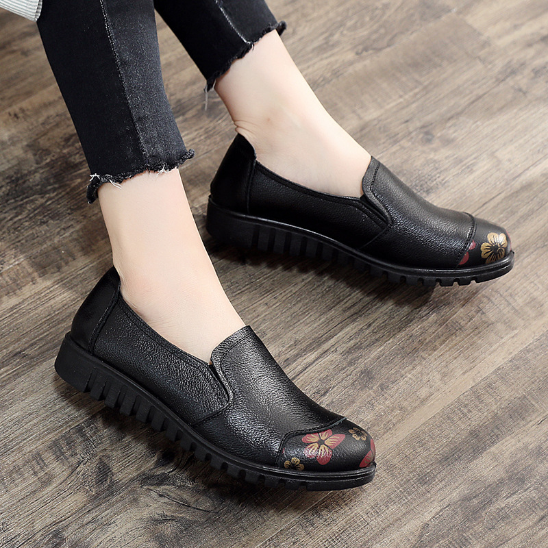 DONGNANFENG Women Female Ladies Cow Genuine Leather Shoes Flats Spring Autumn Round Toe Slip On Casual Soft Size 35 41 HD 832 in Women 39 s Flats from Shoes