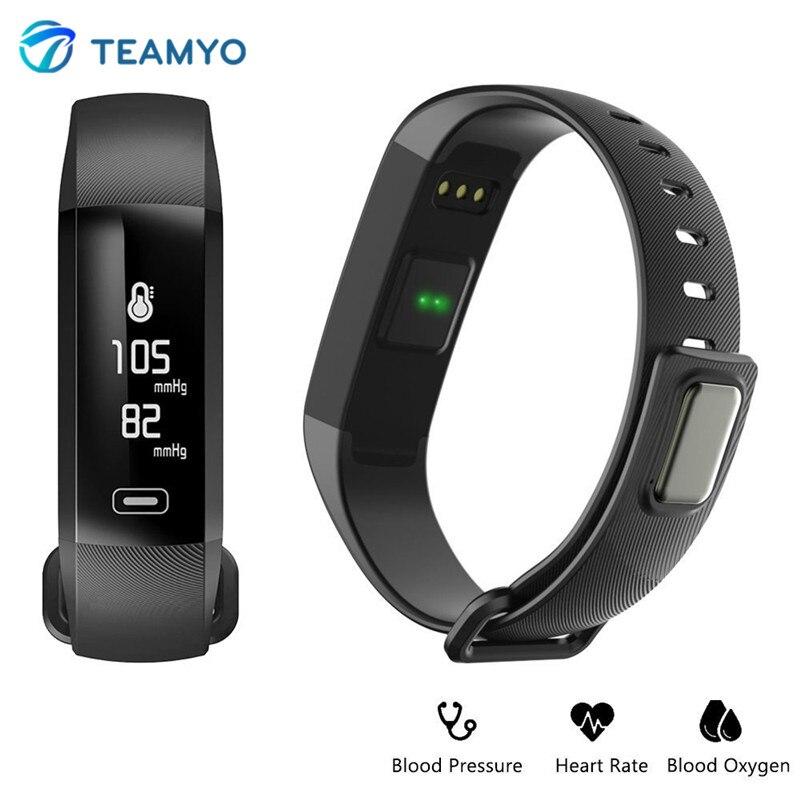 Teamyo Smart Band m2 Приборы для измерения артериального давления часы пульсометр фитнес-трекер умный Браслет измеритель пульса кислорода напомина...