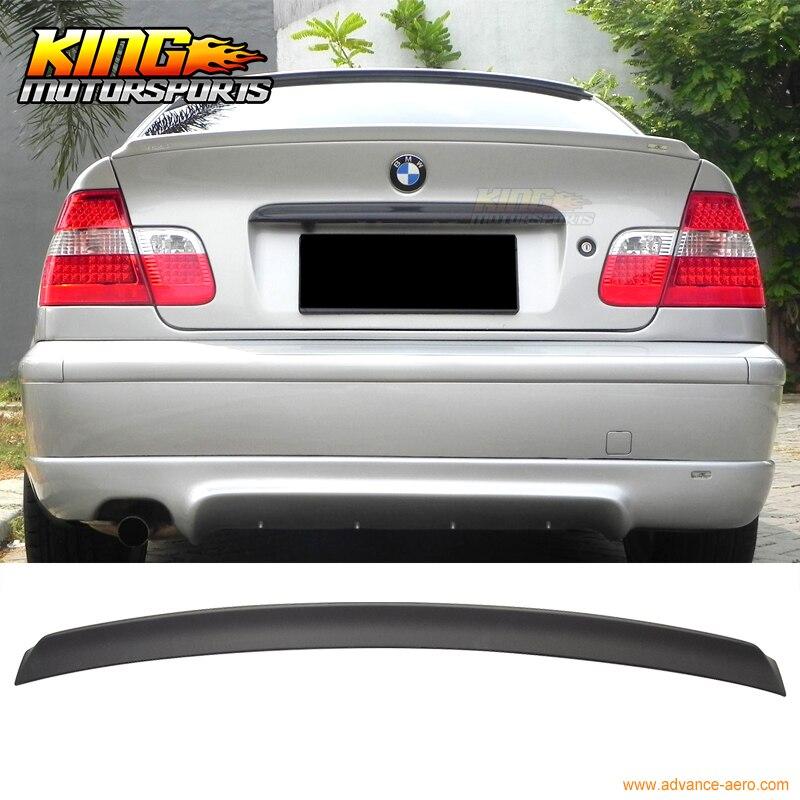 Pour 99-05 BMW Série 3 E46 4D ACS Peint Mat Noir Lèvre Arrière Tronc Spoiler ABS