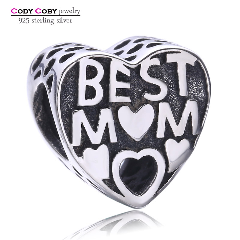 CODY COBY 925 Sterling Silver Best MOM Charms Fit Pandora Bracelet Unique Diy Love Heart Shape Beads Luxury Jewelry Gift for Mum
