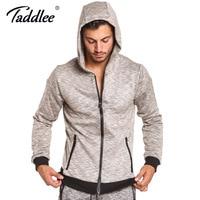 Taddlee brand Long Sleeve Hoodies Men Active Stretch Cotton Jacket Zipper Pockets Sportswear Oversized Sweatshirt Mens