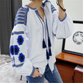 White Blouses Bohemian Style Top Summer 2017 New pattern Elegant Boho embroidered Lantern Sleeve Tassels Loose shirt for women