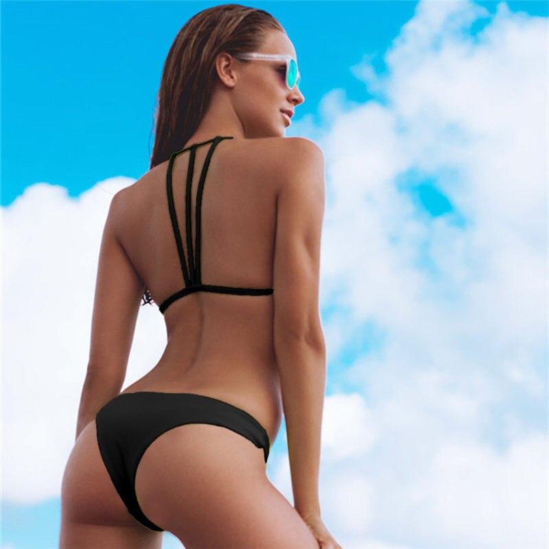 Solid Bandage Bikini Set Women Sexy High Cut Bathing Suit Swimsuit New Low Waist Halter Top Swimwear Summer Beachwear Biquini