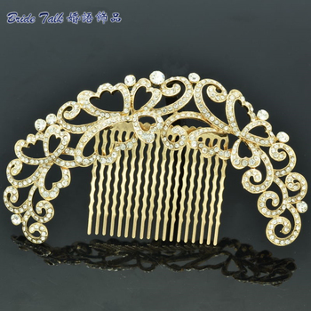 Free shipping Gold Tone Rhinestone Crystal Flower Hair Comb Wedding Accessories Headbands Hairpins Head Jewelry For Party XBY073
