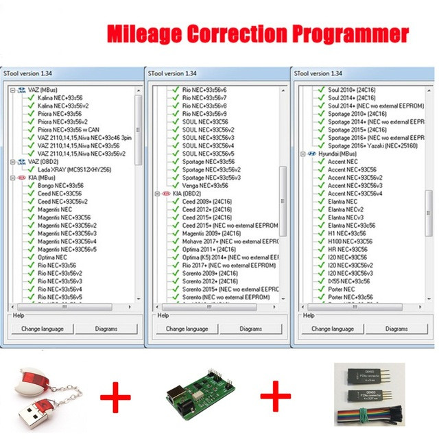 RIOOAK Odometer Correction Software MTool V1 34 Dongle Denso adapter Denso Pin Wires Cable Mileage Correction