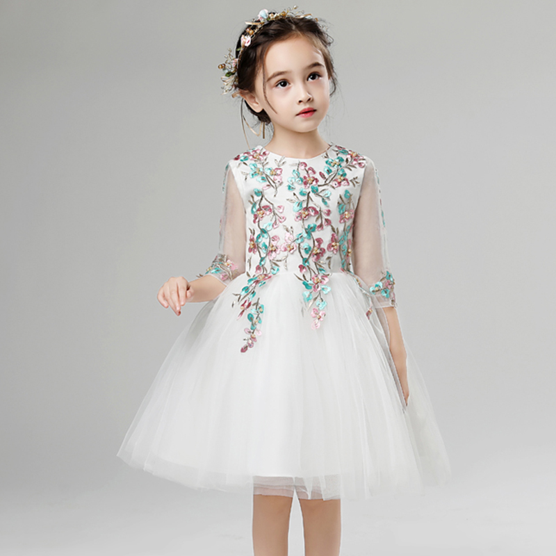 Lace Beads Evening Gowns White 2019   Flower     Girl     Dress   Formal Pageant Cute O-neck Ball Prom Gown Kids Occasion Drsses