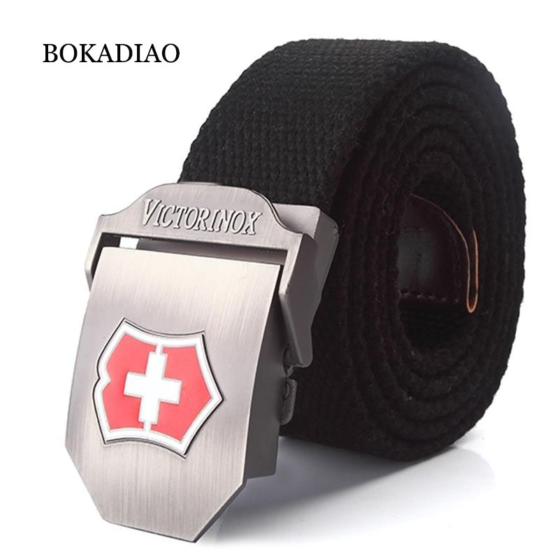 BOKADIAO Men&Women Military Canvas   belt   luxury Metal buckle fashion jeans   belt   Army tactical   belts   for Men waistband strap male