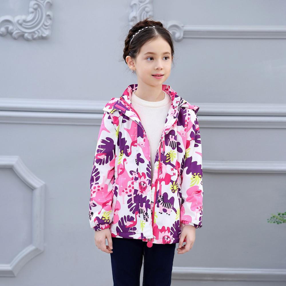 HSSCZL girls jackets 2019 new autumn kids girl plus velvet soft shell jacket windproof waterproof coat