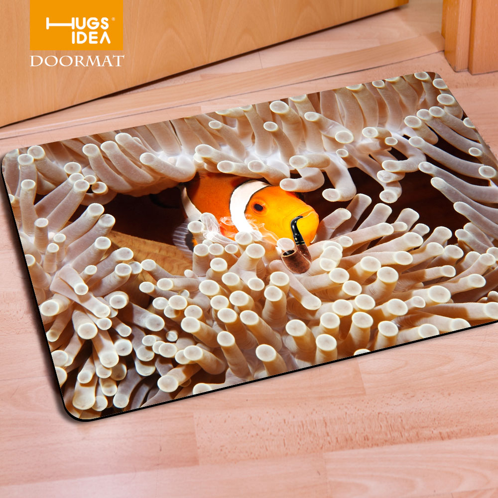 Fashion Ocean Sea Fish Printing Welcome Carpets Anti Slip Bathroom Kitchen  Carpet House Floor Mats