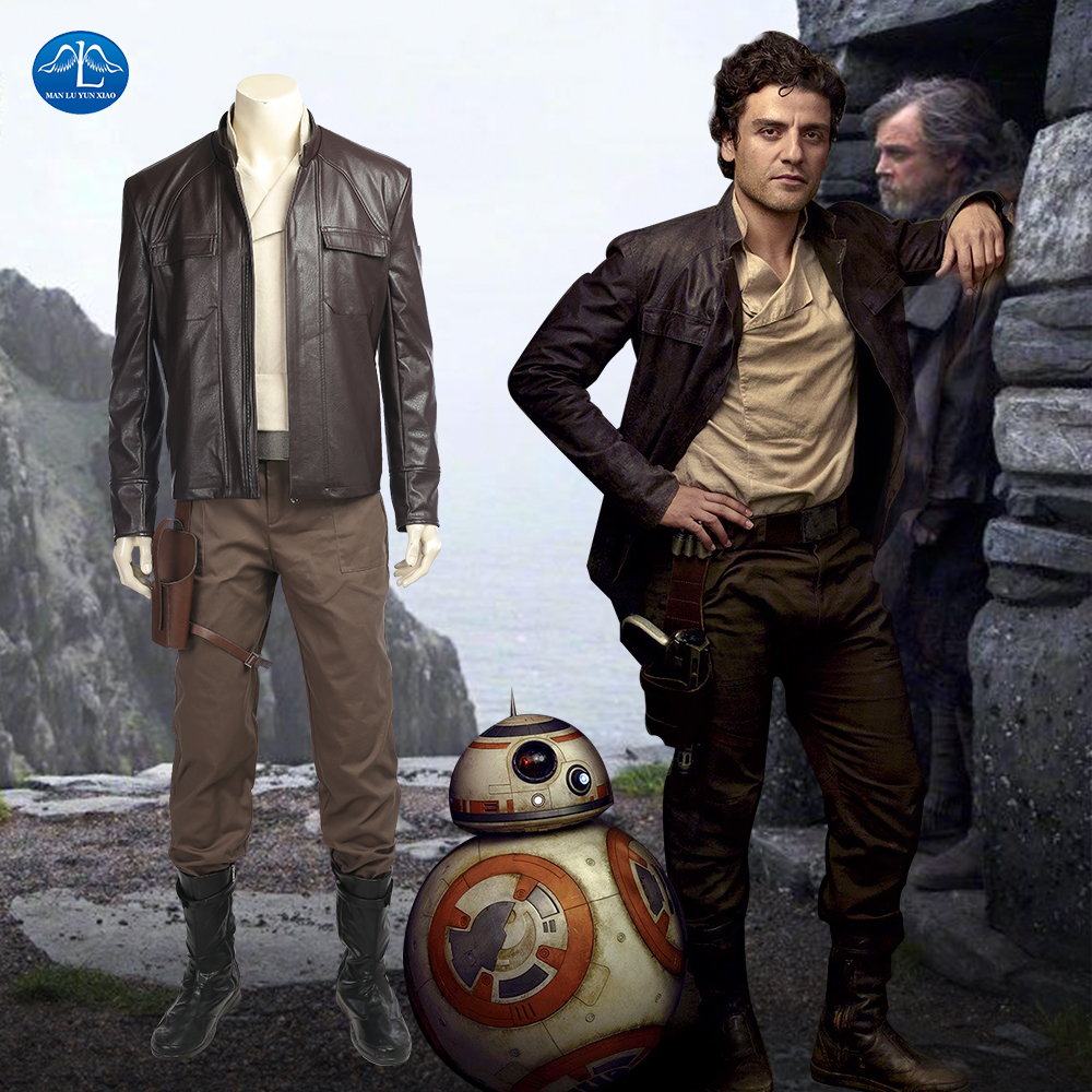 MANLUYUNXIAO Star Wars 8 Cosplay Costume Poe Dameron Cosplay Costume Men Full Set Halloween Costumes For Men Custom Made