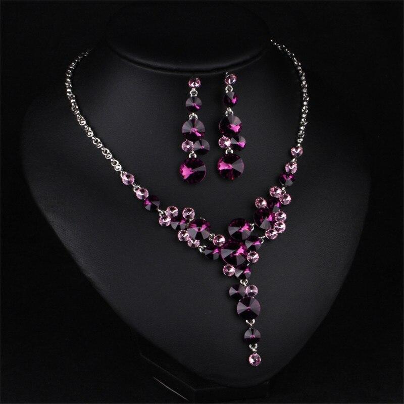 Bra kvinnor brudklänning tillbehör lyx lila blomma kristall strass - Märkessmycken - Foto 2