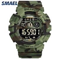 SMAEL Inteligente Bluetooth Assista Pedômetro Cronômetro Militar Relógios Digitais Dos Homens Camuflagem Do Exército Dos Homens Do Esporte LEVOU Relógio de Pulso relogios Relógios esportivos     -