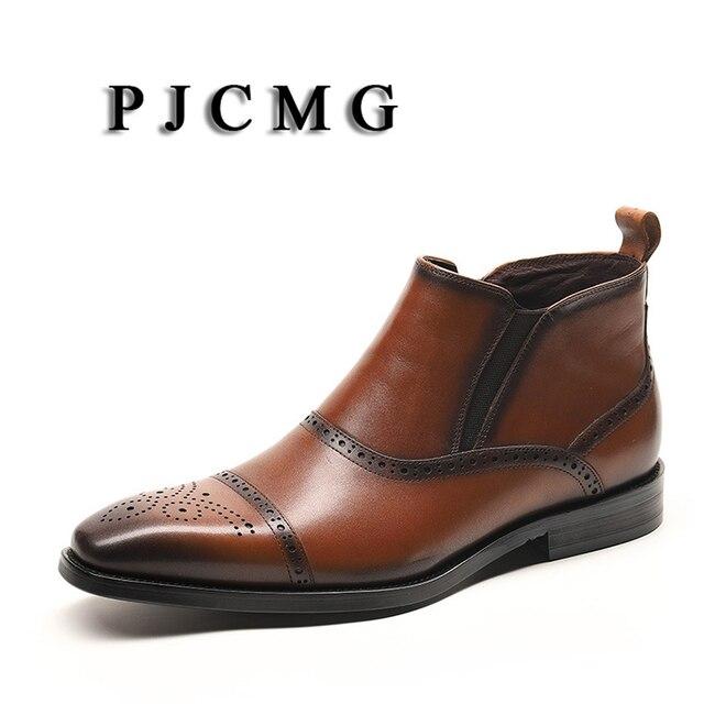 PJCMG Yeni Moda Kahverengi/Siyah Inek Derisi Sivri Burun Hakiki Deri erkek Elastik Bant Iş Oxford Elbise Ayakkabı erkek Botları