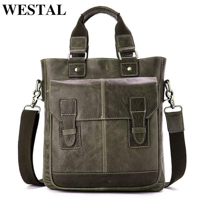 e5bb8daa9429 WESTAL Мужская сумка из натуральной кожи сумка мужская сумка через плечо  сумка для ноутбука Портфель Мужская