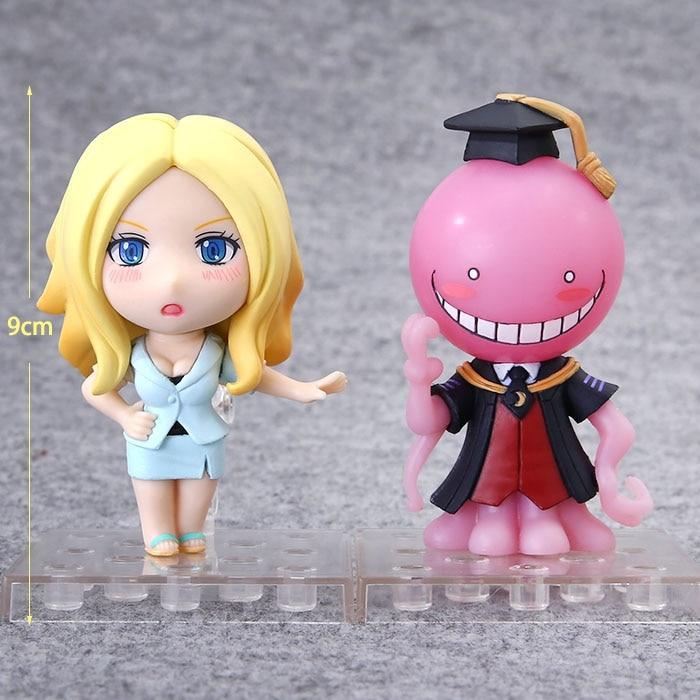 2pcs/lot Anime Assassination Classroom Figure Toy Irina Jelavich Q Version PVC 1/10 Scale Base Collectible Model Toys