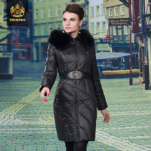 2014 Time-limited Top Fasion Freeshipping Women Slim Medium Fox Fur Collar Luxurious Thicken Plus Size 3xl Coat Down Jacket Ems