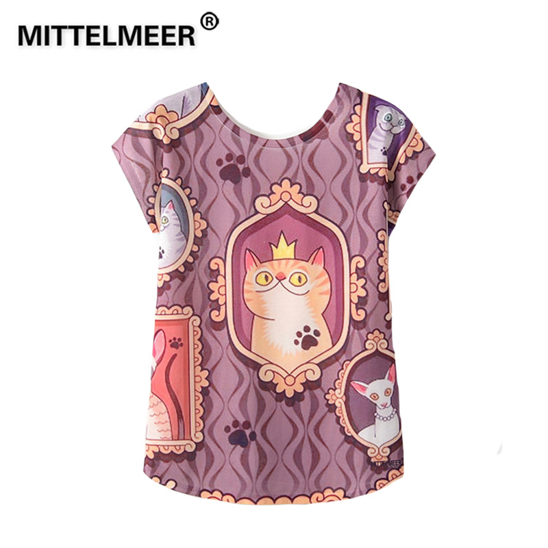 MITTELMEER 2019 Summer Harajuku kawaii t Shirt Women Girls Student Short Sleeve Cartoon Cat animal cactus T-Shirts Tee