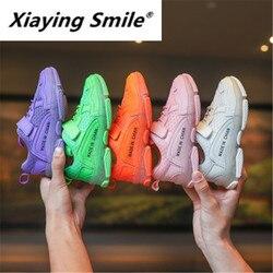 Xiaying uśmiech jesień 2019 nowy dla dzieci buty sportowe w kolorze cukierków oddychające buty tatusia list buty do biegania dla chłopców i dziewcząt|Trampki|   -