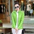 Inverno Mulheres Para Baixo Casaco de Cor sólida Bolso Moda de Penas de Pato Ultra Jaqueta Leve sha029