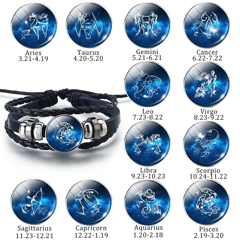 Fashion 12 Zodiac Signs Bracelets Constellation Glass Dome Black Leather Bracelets Men Birthday Gifts For Friends Dropshipping image