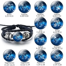 Fashion 12 Zodiac Signs Bracelets Constellation Glass Dome Black Leather Men Women Best Birthday Gifts For Friends