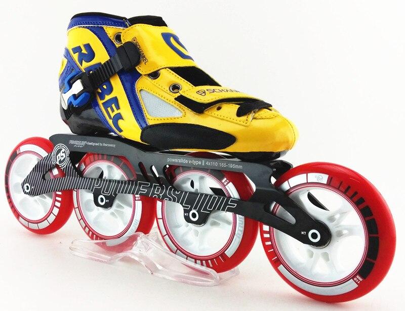 Prix pour REBEC vitesse chaussures de patinage inline chaussures de patinage jaune patins vitesse patins